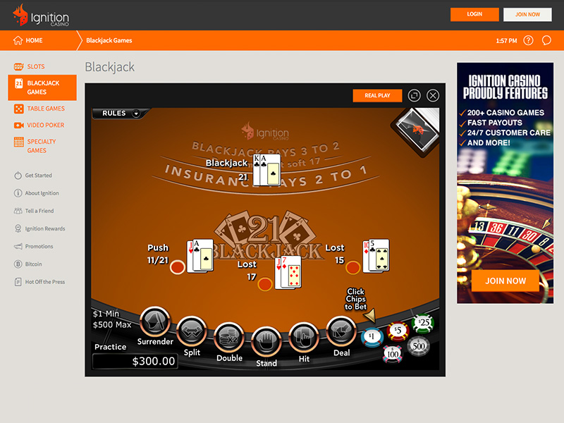 Ignition Casino Blackjack